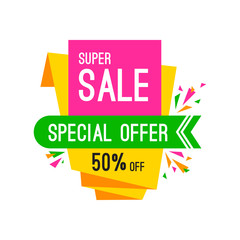 Special offer sale tag discount isolated on white background