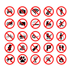 Set ban icons Prohibited symbols red circle signs on white background