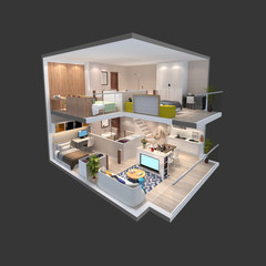 3d illustration of isometric view of a penthouse