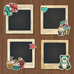 Collage photo frame on vintage background. Album template for kid, baby, family or memories. Scrapbook concept, vector illustration.
