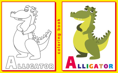 Coloring Book for Kids with letters and words. Litter A. Alligat