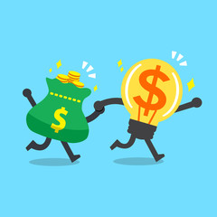 Cartoon big money idea character and money bag