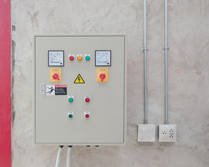 Electrical control and box switch on cement wall