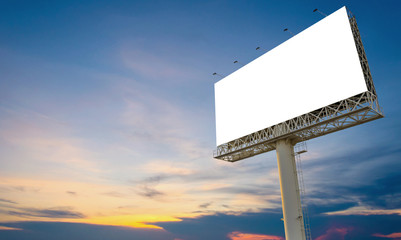 Blank billboard ready for new advertisement with sunset backgrou