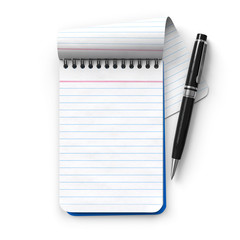 Notepad with ballpoint pen.3D rendering.Isolated on white background.Top view.