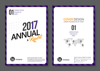 Cover design templates layout with purple tone. Vector annual report templates flat design in A4 size. Flyer / Leaflet cover design template, Abstract flat background. Vector illustration