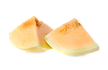 cantaloupe melon sliced on white background