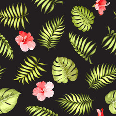 Topical palm leaves and flowers on seamless pattern for fabric texture. Vector illustration.