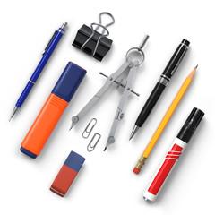 Office tools set.Pencil.Clips.Highlighter.Compass.Eraser.Pen.Ballpen.Marker.