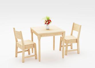 Tavolo e sedie in legno 3d render
