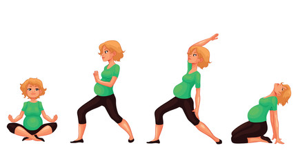 Set with beautiful pregnant woman in various poses of yoga, cartoon style vector illustration isolated on white background. Beautiful pregnant woman doing yoga, collection of asanas, healthy lifestyle