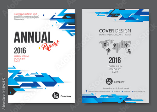 cover design templates layout with blue tone vector annual report