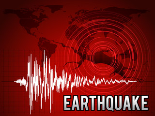 EarthQuake -  frequency wave , map world circle wave and crack floor vector red tone art design