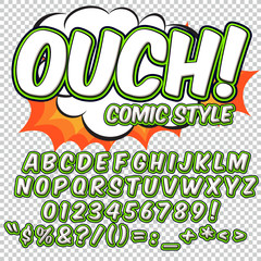Comic alphabet set. Letters, numbers and figures for kids' illustrations.