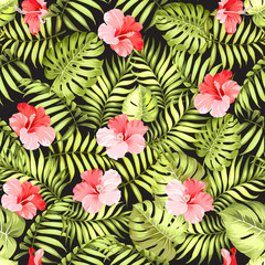 Tropical flowers and jungle palms over black background for fabric texture. Vector illustration.
