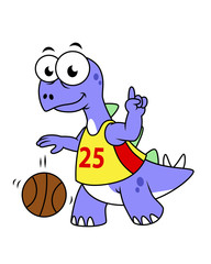 Illustration of a Stegosaurus playing basketball.