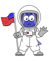 Illustration of a Parasaurolophus astronaut holding American Flag.