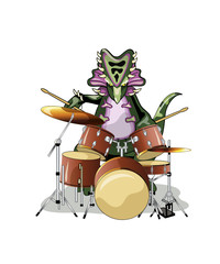 Illustration of a Chasmosaurus playing the drums.
