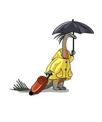 Illustration of an Amargasaurus holding umbrella and suitcase.