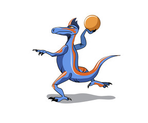 Illustration of an Iguanodon playing basketball.