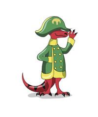 Illustration of a Tyrannosaur Rex dressed as Napoleon.