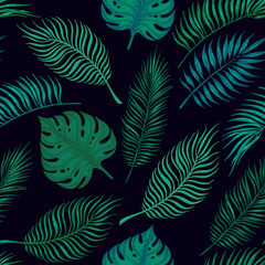 Hand drawn vector seamless pattern - Palm leaves. Tropical desig