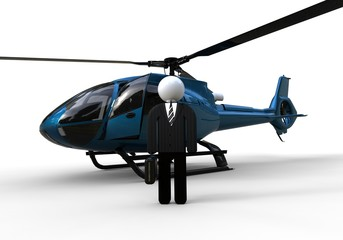Businessmen closeup / 3D render image representing an businessmen with a helicopter in background