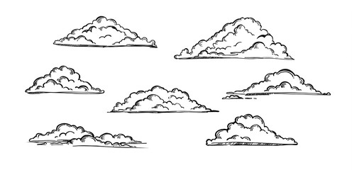 Hand drawn vector illustration - Set of clouds. Vintage engraved