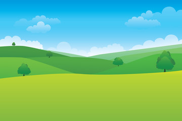 Tuinposter Lime groen Green hill landscape. Vector illustration of panorama view with green mountain landscape and cloud sky.