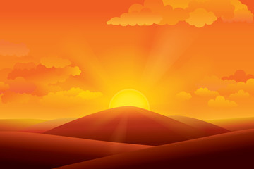 Vector illustration of panorama view with mountain landscape and sunset sky.