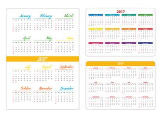 Horizontal and vertical pocket calendar