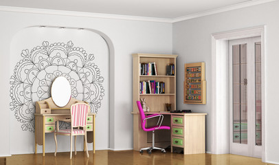 Interior of modern stylish room for teenager. 3D illustration