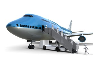 Boarding plane / 3d render image representing a boarding plane