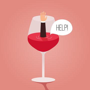 Man drowned in wine. Cartoon vector illustration