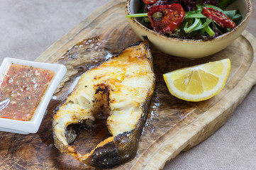 Halibut with roasted eggplant and vegetables