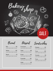 Hand drawn vector flyer - bakery shop. Basket with pastry