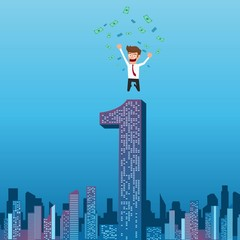 Happy businessman successful with money flowing in the air jumping on top of building. City skyline. Success concept. Cartoon Vector Illustration.