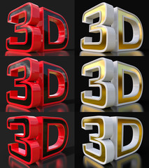 Set metal 3D logo isolated on black background with reflection effect.