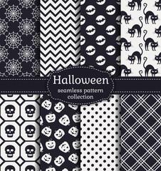 Halloween seamless patterns. Vector set.