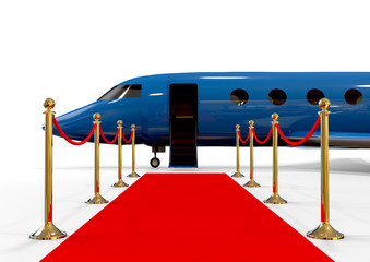 Luxury Airplane on red carpet / 3D render image representing a very important person plane