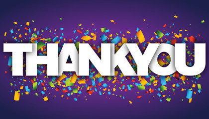 Thank You letters vector word banner sign