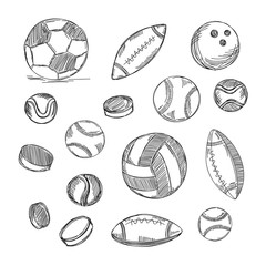 Different types of balls set. Sports doodles