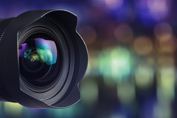 Camera Lens with bokeh background
