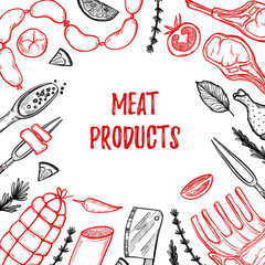 Hand drawn vector illustration - Meat products (chicken, pork, s