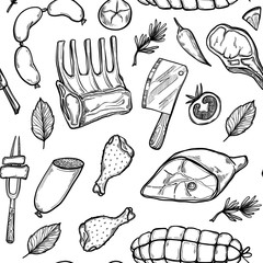 Hand drawn vector background - Meat products (chicken, pork, ste