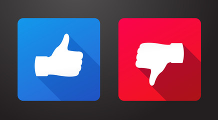 Thumbs up and down flat icons with long shadow vector illustration