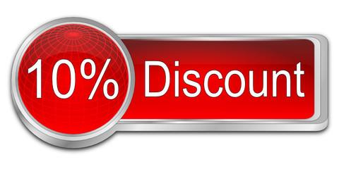 10% Discount button - 3D illustration