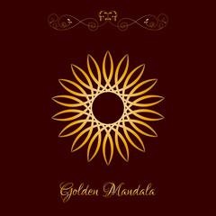 Vector Gold Color Sun Mandala over dark brown