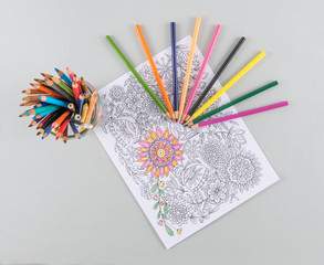 Adult Coloring Page and Bright Colored Pencils