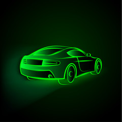 Vector green neon car in motion. Linear auto illustration on a black background.